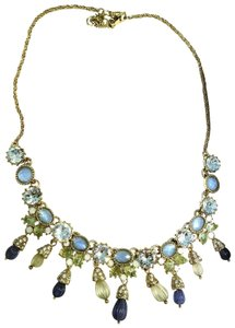 Marchesa MARCHESA blue green gold carved beads crystal necklace