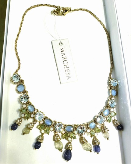 Marchesa MARCHESA blue green gold carved beads crystal necklace Image 1