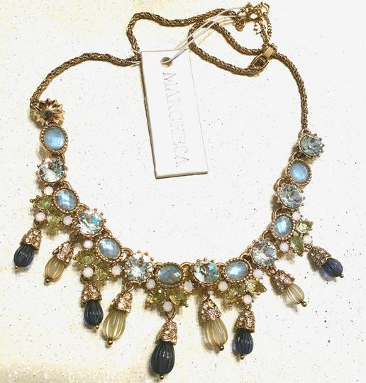 Marchesa MARCHESA blue green gold carved beads crystal necklace Image 2