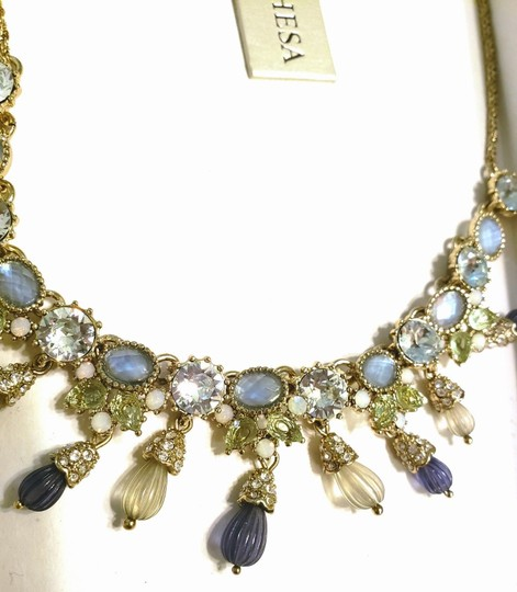 Marchesa MARCHESA blue green gold carved beads crystal necklace Image 3