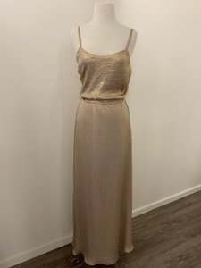 Amsale Rose Gold Liquid Metal Chiffon Nouvelle Reagan - N376 Casual Bridesmaid/Mob Dress Size 4 (S)