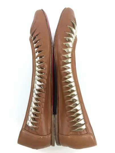 Christian Louboutin Cut Out Leather Tan and Gold Flats Image 2