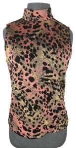 St. John Mock Neck Leopard Print Top Black multi