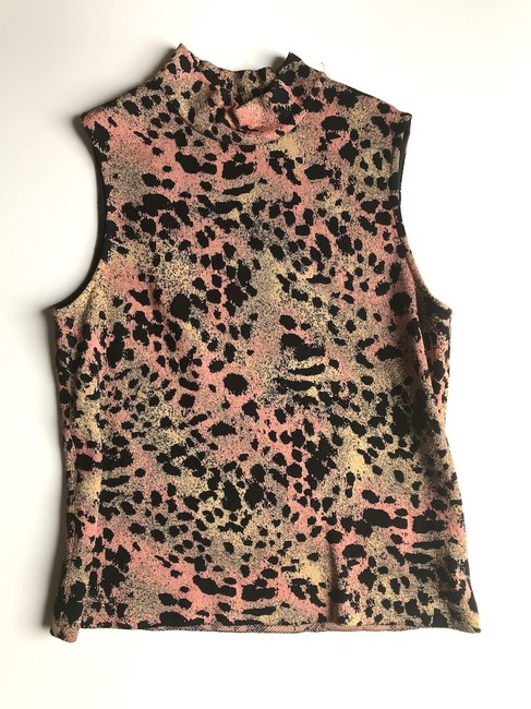 St. John Mock Neck Leopard Print Top Black multi Image 1