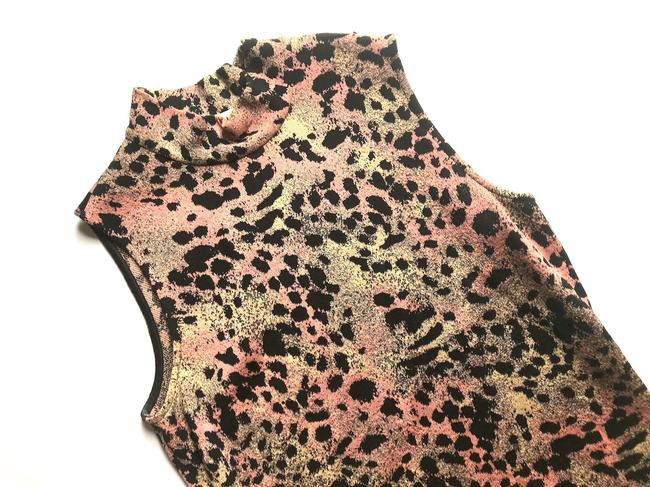 St. John Mock Neck Leopard Print Top Black multi Image 2