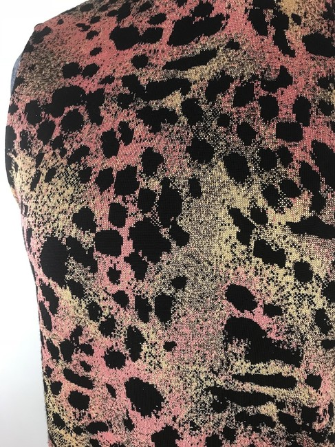 St. John Mock Neck Leopard Print Top Black multi Image 8
