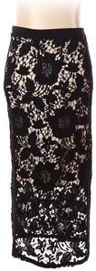 David Helwani Lace Knit Crochet Skirt Black/Tan