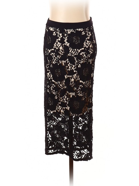 David Helwani Lace Knit Crochet Skirt Black/Tan Image 1