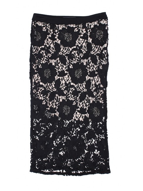 David Helwani Lace Knit Crochet Skirt Black/Tan Image 2