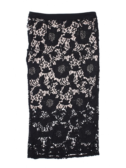 David Helwani Lace Knit Crochet Skirt Black/Tan Image 3