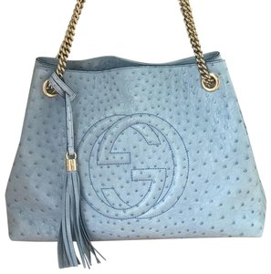 Gucci Leather Ostrich Tote in Mineral Blue
