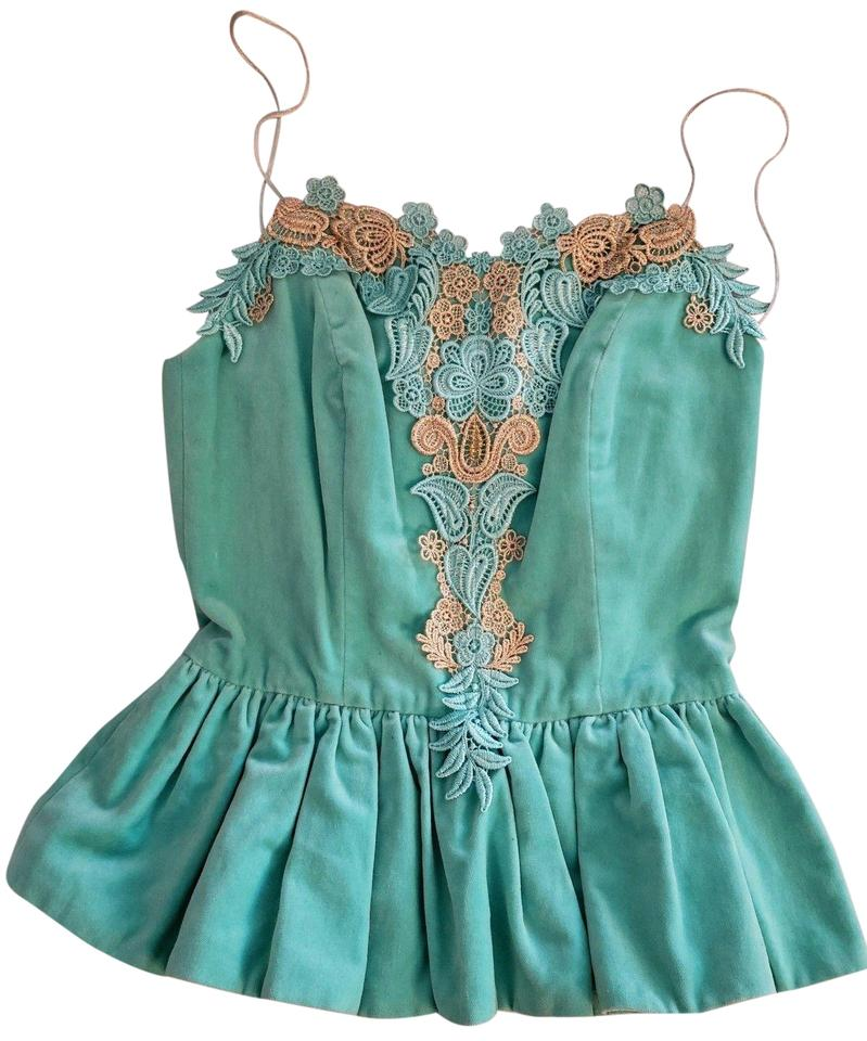 1c8a559608b Manoush Green Aqua Mint Velvet Gold Lace Bustier Peplum Corset Tank  Top/Cami Size 4 (S) 48% off retail