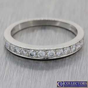 Tiffany & Co. Silver Platinum .50ctw Round Cut Diamond 3mm Band Ring