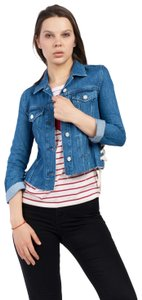 French Connection Lace Medium Blue Womens Jean Jacket