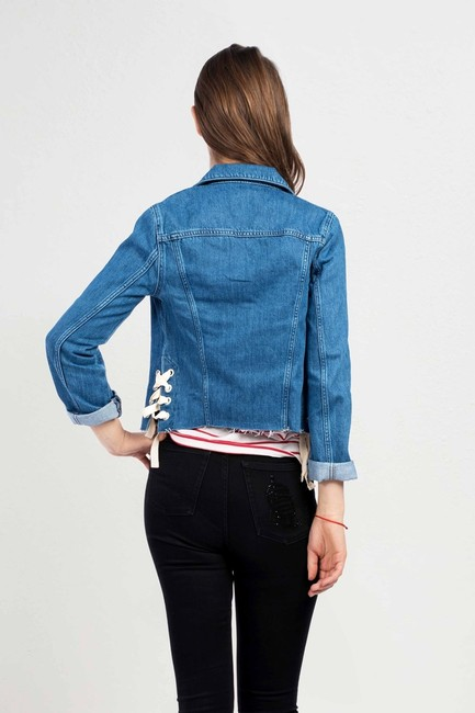 French Connection Lace Medium Blue Womens Jean Jacket Image 1