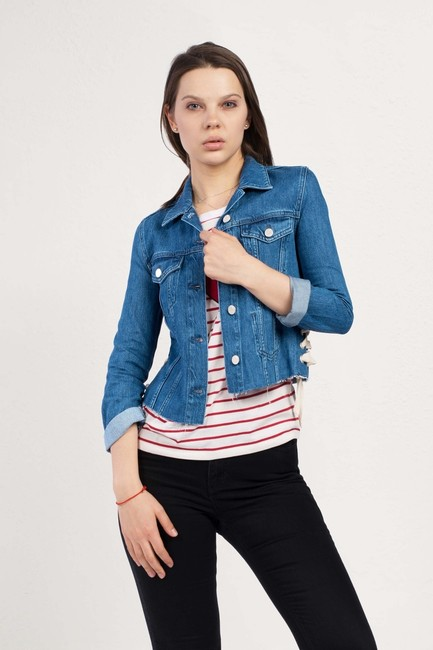 French Connection Lace Medium Blue Womens Jean Jacket Image 2
