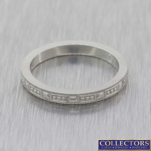 Tiffany & Co. Silver Co Platinum 2mm Embossed Grained Band Ring