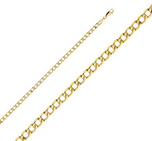 Top Gold & Diamond Jewelry 14k Yellow Gold 4.3 mm Hollow Cuban Chain - 7.5