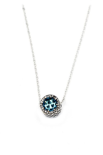 Ocean Fashion Sterling silver Ocean Heart blue Crystal Necklace Image 1