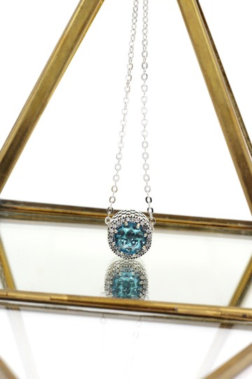 Ocean Fashion Sterling silver Ocean Heart blue Crystal Necklace Image 3