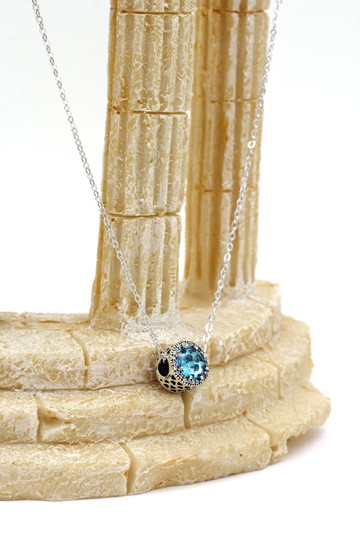 Ocean Fashion Sterling silver Ocean Heart blue Crystal Necklace Image 6