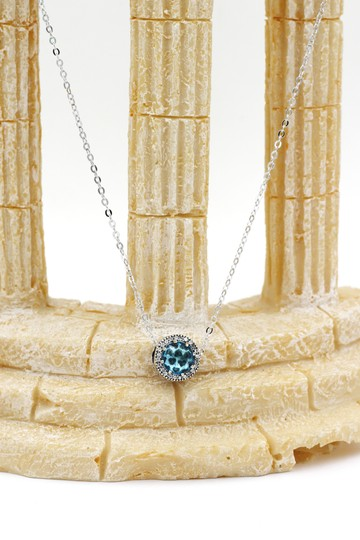 Ocean Fashion Sterling silver Ocean Heart blue Crystal Necklace Image 7