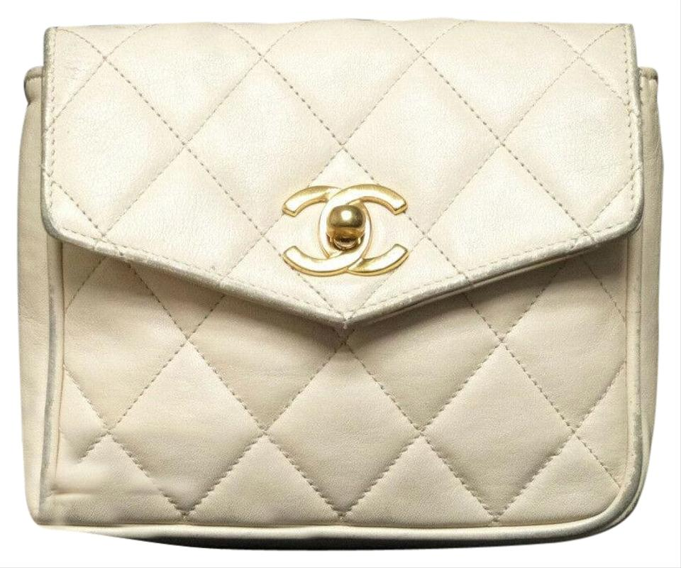 a7c4f035cc5b Chanel Leather Limited Edition Vintage Quilted European white Clutch Image  0 ...