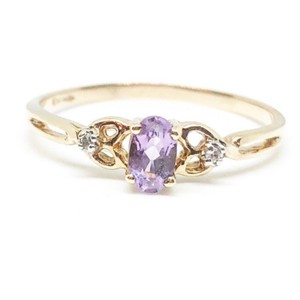 Jared 10k Yellow Gold Authentic Amethyst & Diamond Ring