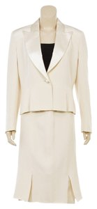 Sylph Sylph Cream One Button Jacket and Pleated Silk Skirt Suit (Size 8)
