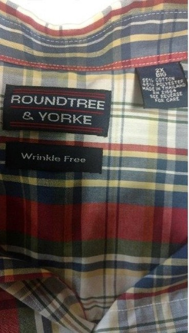 Roundtree & Yorke Men's Mens Button Up Wrinkle Resistant Button Down Shirt Plaid Checkered
