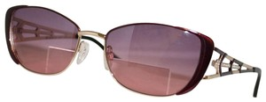 Diva New Diva Women's 4193 123 Burgundy & Gold Rectangle Sunglasses 56mm