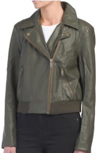 Free People Green Leather Jacket