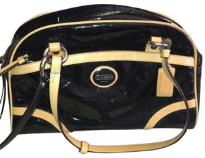Coach Leather Two-tone Satchel in Black