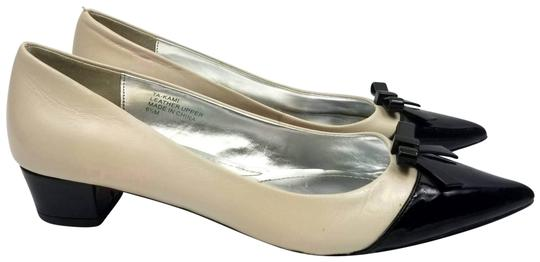 Beige & Black Pointed Toe Two Tone Leather Flats by Tahari