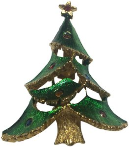Vintage Vintage J.J. Enamel Christmas Tree Gold Brooch Pin
