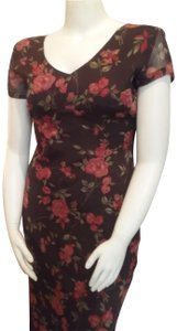 Brown Floral Maxi Dress by Esprit de Corp Short Sleeve
