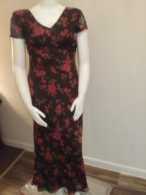 Brown Floral Maxi Dress by Esprit de Corp Short Sleeve Image 3