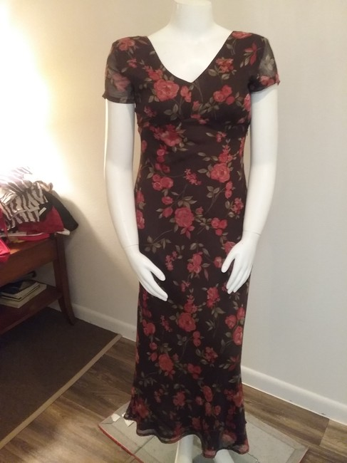 Brown Floral Maxi Dress by Esprit de Corp Short Sleeve Image 4