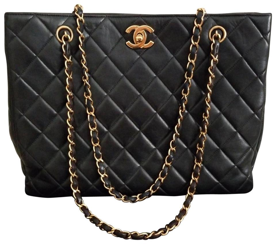 00066638b6e5 Chanel Timeless Limited Edition Quilted Gold Cc Chain Tote Purse Black  Lambskin Leather Shoulder Bag