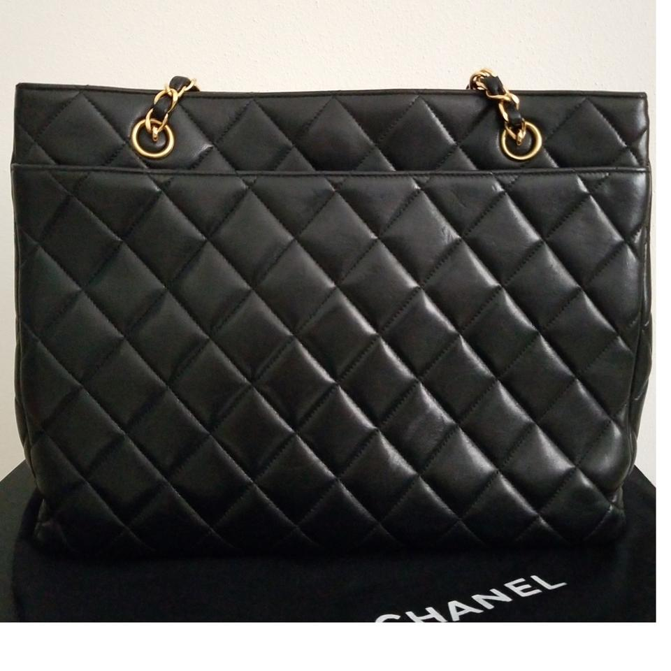 327accb35b90 Chanel Timeless Limited Edition Quilted Gold Cc Chain Tote Purse Black  Lambskin Leather Shoulder Bag