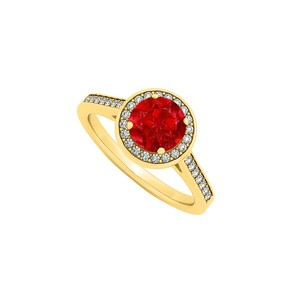 DesignerByVeronica July Birthstone Created Ruby and Cubic Zirconia Halo Engagement Ring i