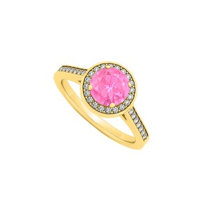 DesignerByVeronica September Birthstone Created Pink Sapphire and Cubic Zirconia Halo Eng