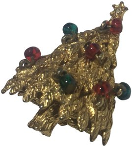Vintage Vintage beaded Christmas Tree Gold Brooch Pin
