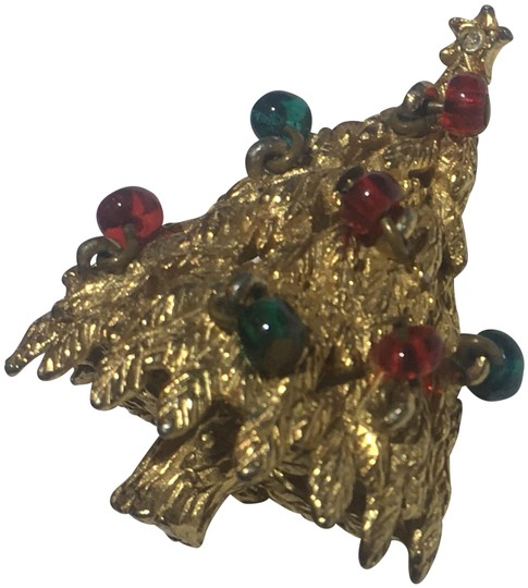 Vintage Vintage beaded Christmas Tree Gold Brooch Pin Image 0