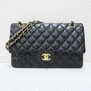 c3c29f528311 Added to Shopping Bag. Chanel Lambskin Leather Double Flap Shoulder Bag. Chanel  Classic Flap Medium Classic Double Black ...
