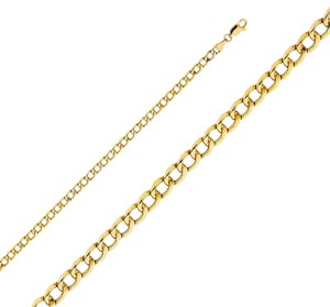 Top Gold & Diamond Jewelry 14k Yellow Gold 4.3 mm Hollow Cuban Chain - 22