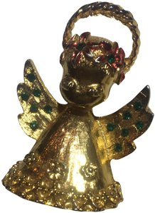 Vintage Vintage Christmas Angel Cherub Gold Brooch Pin