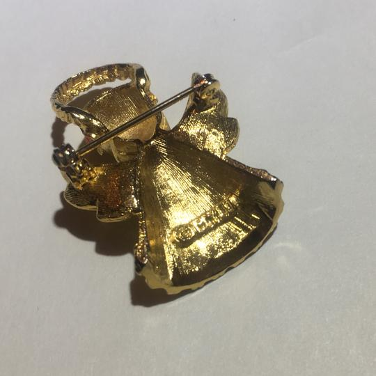 Vintage Vintage Christmas Angel Cherub Gold Brooch Pin Image 3