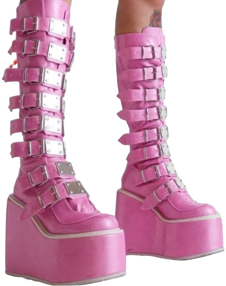 65a13c7b087 Demonia Pink Limited Edition Trinity Boots Booties Size US 8 Regular ...