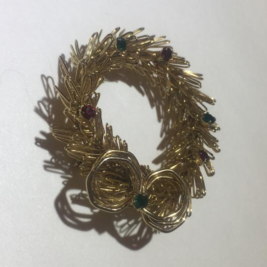 Vintage Vintage Gold Wire Christmas Wreath Stone Brooch Pin Image 1